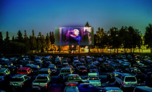 Solano Drive-In screen at twilight