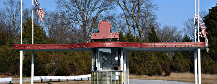 Ticket booth with elaborate awnings