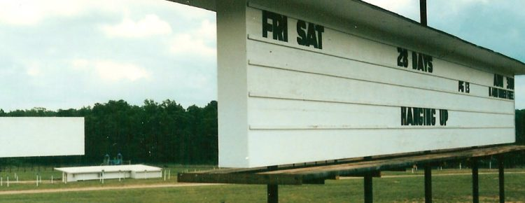 21 Drive-In marquee with screen in the background