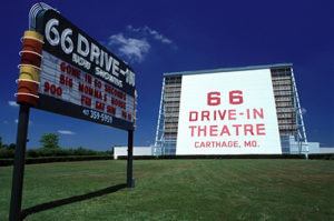 66 Drive-In marquee and screen