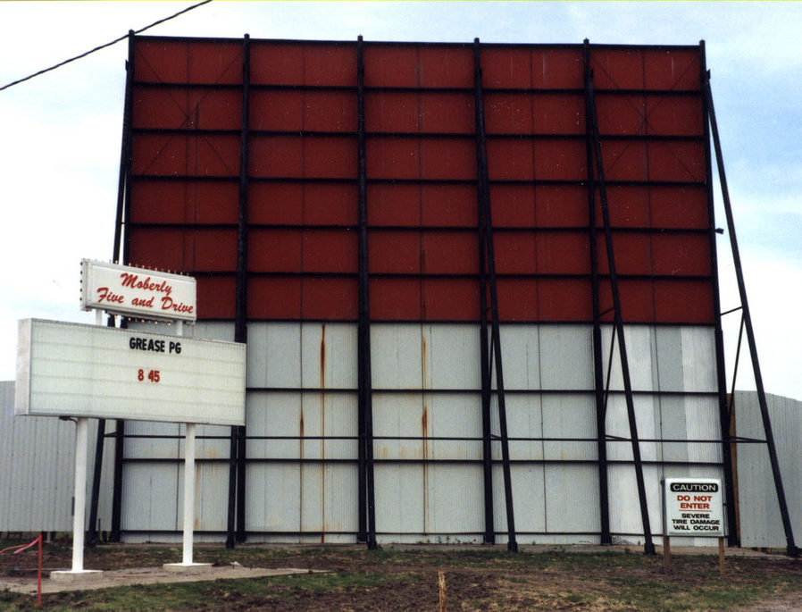 Moberly Drive-In marquee and screen