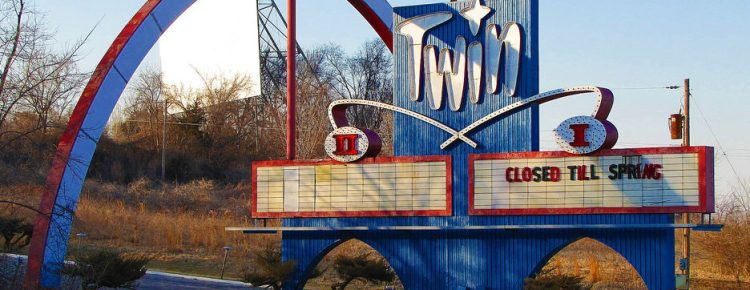 Twin Drive-In marquee with one screen in background