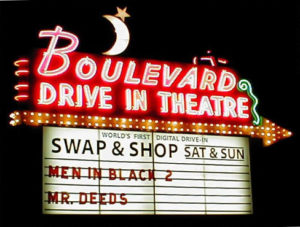 Boulevard Drive-In marquee at night