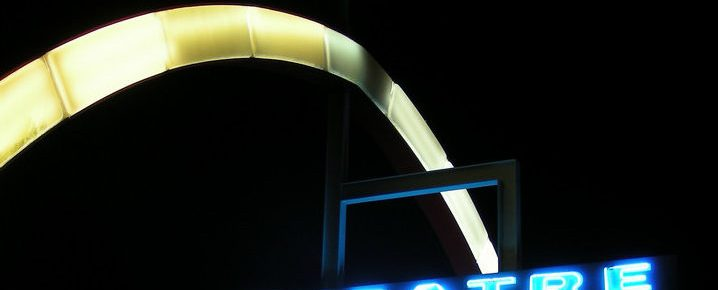 I-70 Drive-in marquee at night