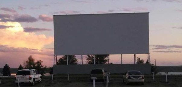 Drive-in screen at sunset