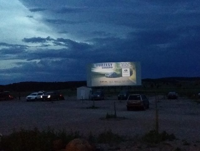 Drive-in screen at twilight