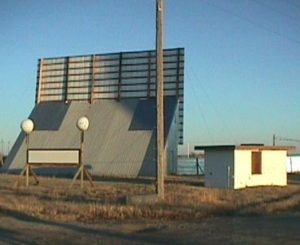 Sandhills Drive-In screen and ticket booth