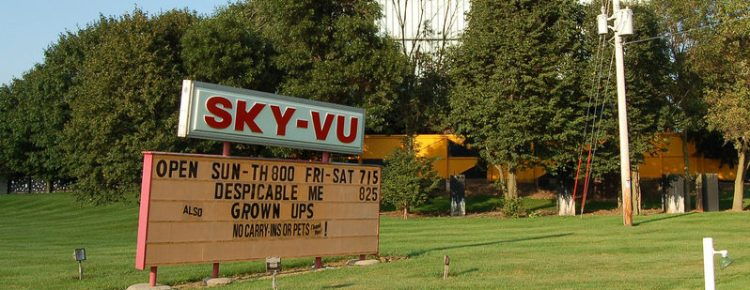 Sky-Vur Drive-In marquee with screen in background