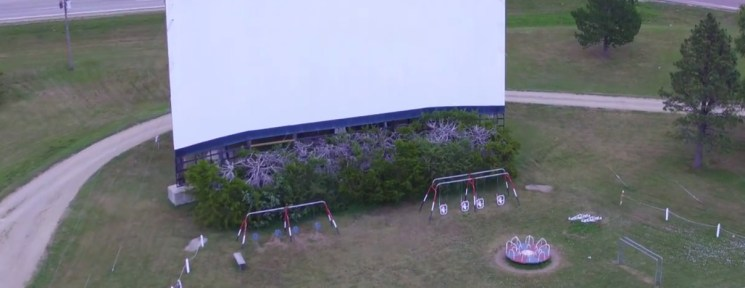 Aerial view of the Winner Drive-In screen