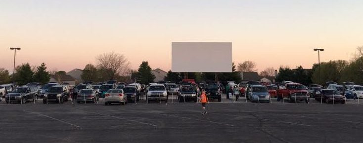 Parking lot and screen of the Canary Creek Drive-In