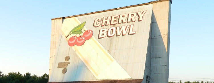 Painted back of the Cherry Bowl Drive-In screen