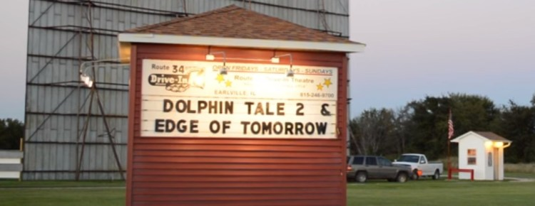 Route 34 Drive-In marquee and screen