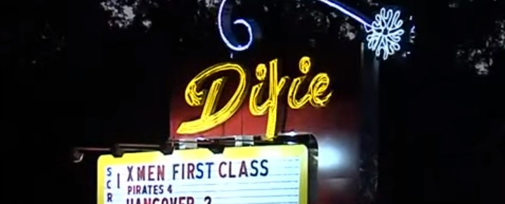 Dixie Drive-In marquee at twilight