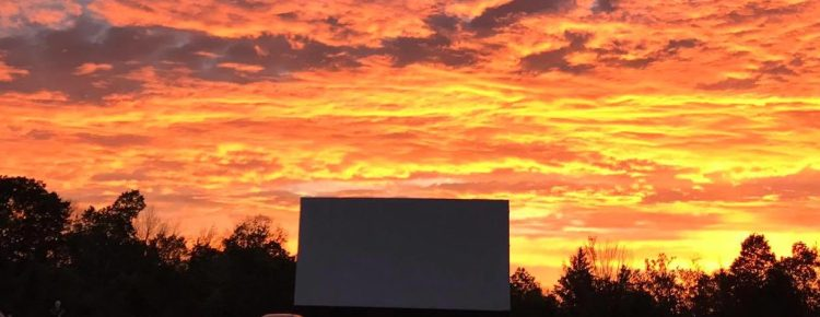 Drive-in screen during a magnificent sunset