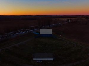 Aerial view of the Midland Drive-In at sunset
