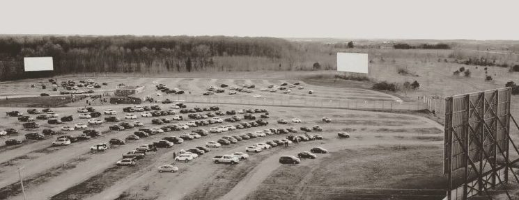 Black and white aerial photo of the three screens and viewing areas