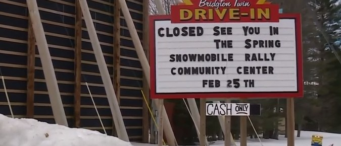 Bridgton Twin Drive-In sign above several inches of snow