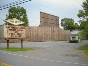 Hathaway's Drive-In marquee and screen