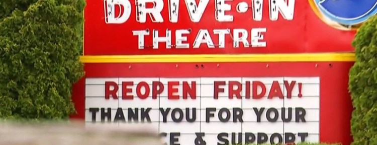 Midway Drive-In sign saying Reopen Friday!