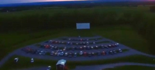Aerial view of the fourth screen at the Vintage Drive-In