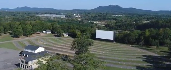 Aerial view of the Hound's Drive-In viewing area and screen