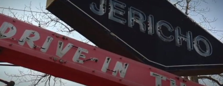 Close-up of the top of the Jericho Drive-In marquee