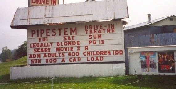 Pipestem Drive-In marquee and poster wall