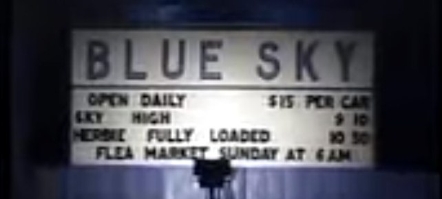 Blue Sky Drive-In marquee at night