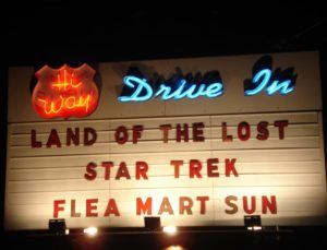 Hi-Way Drive-In marquee lit at night