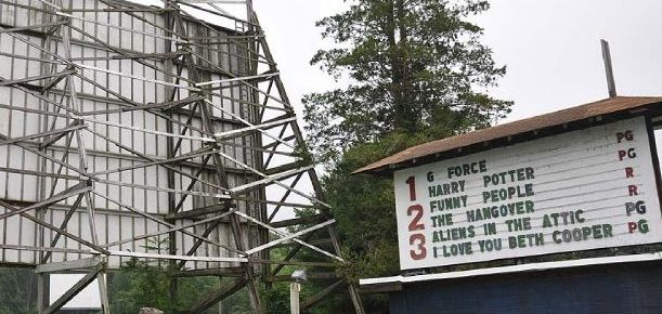 Point Drive-In marquee and back of one screen