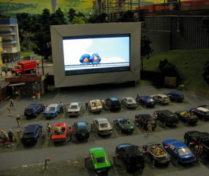 Miniature drive-in theater, as from a model train set