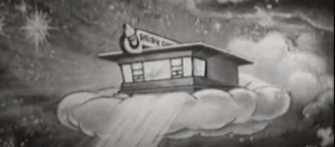 A cartoon Dairy Queen restaurant floating on a cloud