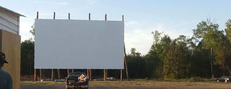 Stateline drive-in theater screen and empty lot