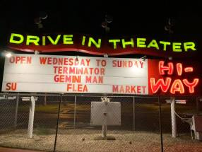 Hi-Way Drive-In marquee at night
