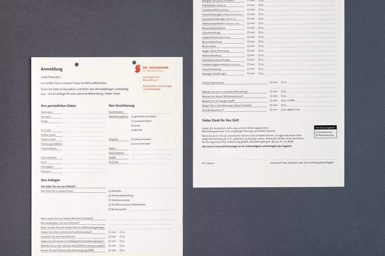 Gestaltung des Anamnesbogens für Zahnarzt Dr. Sielemann in Mainz