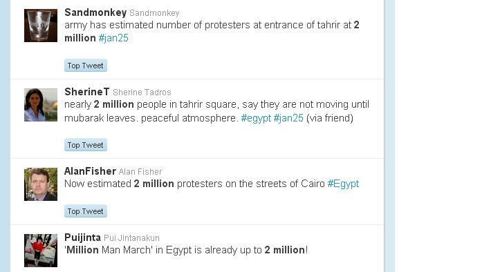 Number of people in Tahrir Square in the 1 Million March (More like 50,000?) (3/3)