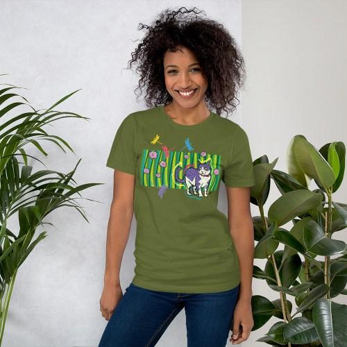 CAT-IN-THE-GARDEN-tshirt green