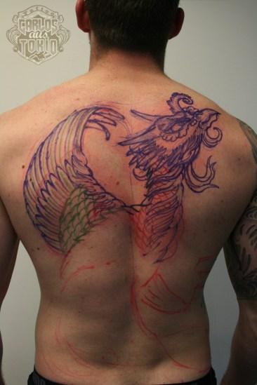 ho-o phoenix tattoo 鳳凰刺青背中1
