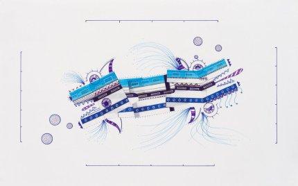 Tinta, marcador , corrector y papel barrilete sobre papel. 29 cm. x 47 cm. 2014