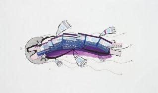 Tinta, marcador , corrector y papel barrilete sobre papel. 70cm. x 118 cm. 2014