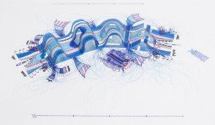 Tinta, marcador , corrector y papel vegetal sobre papel. 29 cm. x 47 cm. 2014