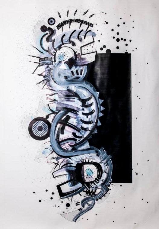 S/T. Tinta, marcador y corrector sobre papel. 120 cm. x 190 cm. 2014