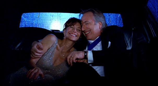 Mary Steenburgen and Alan Rickman celebrate.