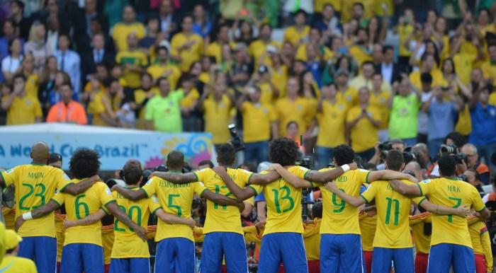 Los jugadores de la 'seleçao' antes de la semifinal del Mundial 2014 / WIKIPEDIA.ORG