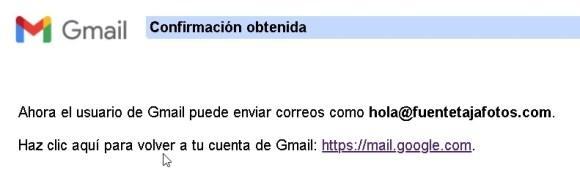Cuenta Gmail, confirmación obtenida.