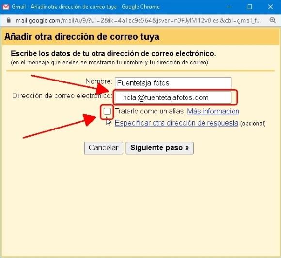 cuenta Gmail, ajustes avanzados, añadir otra dirección de correo electrónico