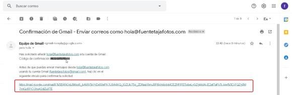 Cuenta Gmail, código de confirmación recibido, enlace adicional.