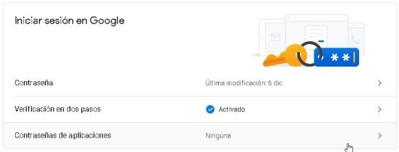 Iniciar sesión en Google, verificación en dos pasos ACTIVADA.