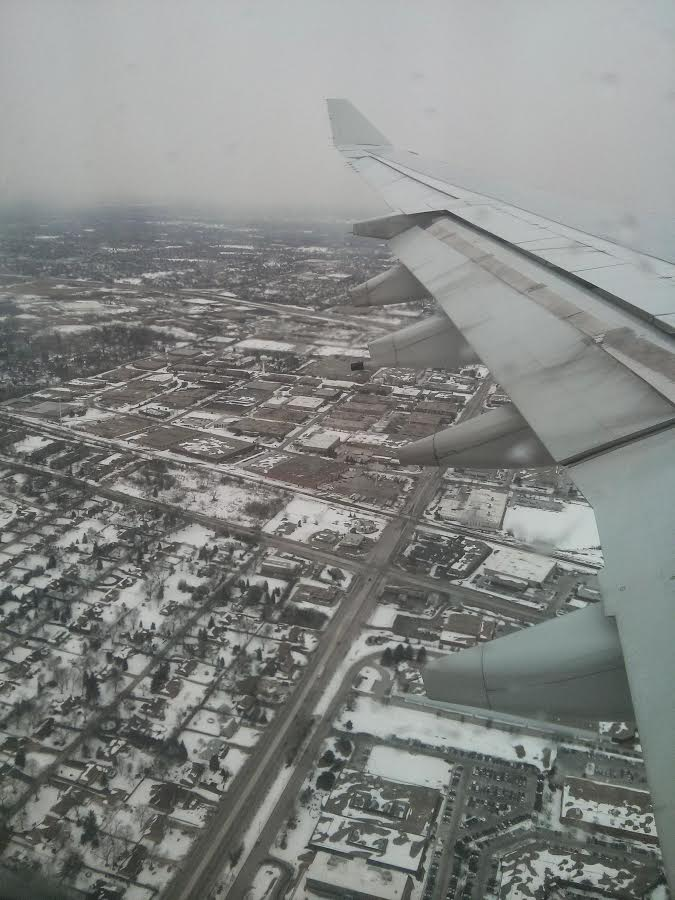 Chicago snowed from an airplane