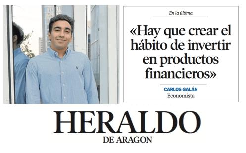 Entrevista – Contraportada en Heraldo de Aragón